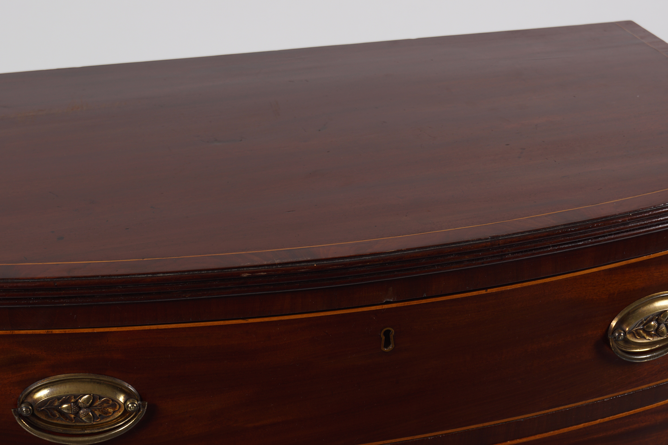19TH-CENTURY MAHOGANY AND INLAID BOW FRONT CHEST - Image 3 of 3