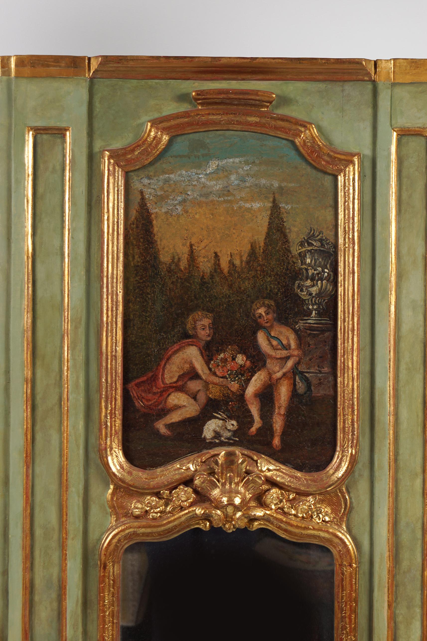 19TH-CENTURY PARCEL-GILT TRUMEAU MIRROR - Image 2 of 2
