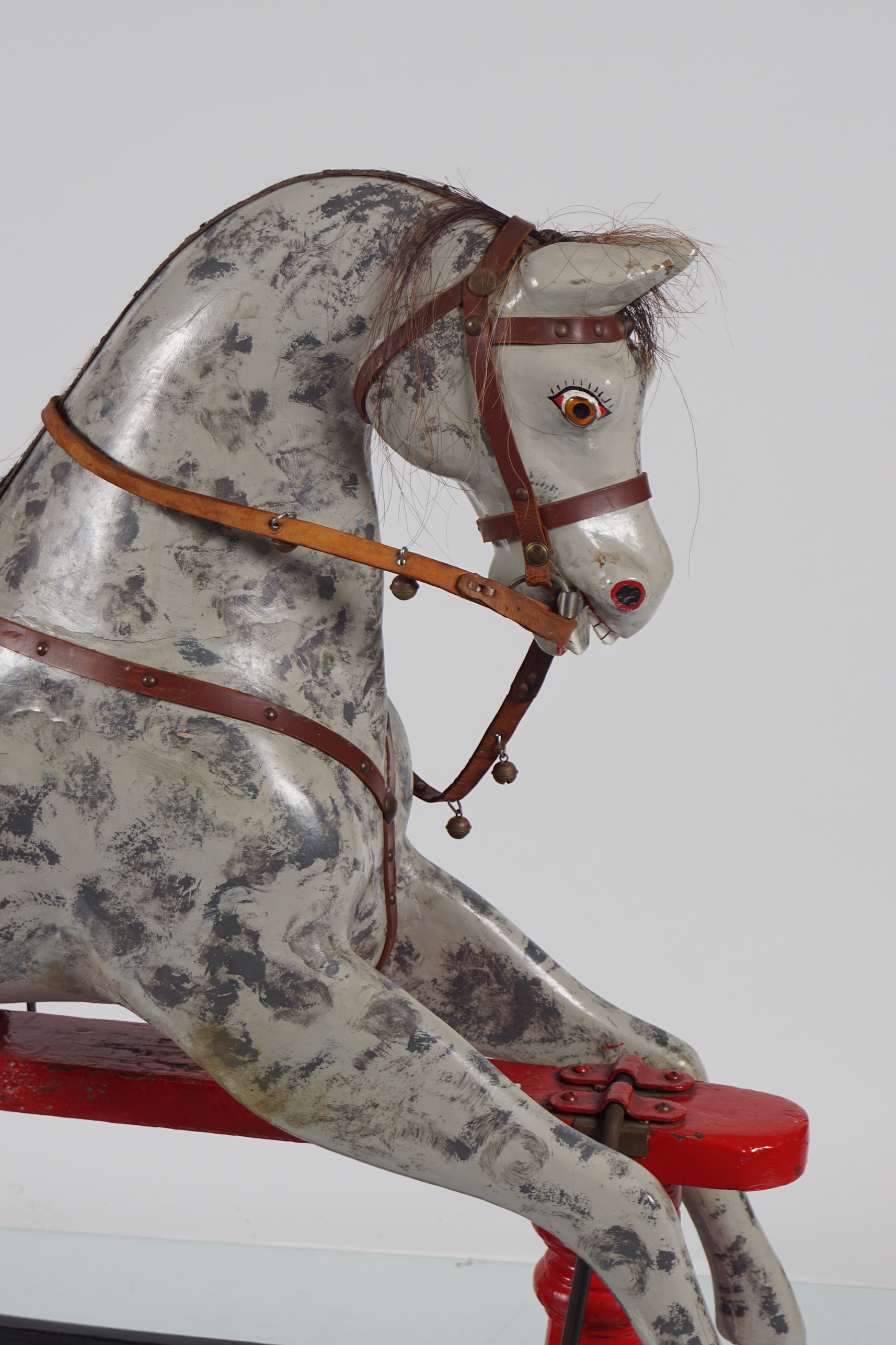 ANTIQUE POLYCHROME WOODEN ROCKING HORSE - Image 2 of 4