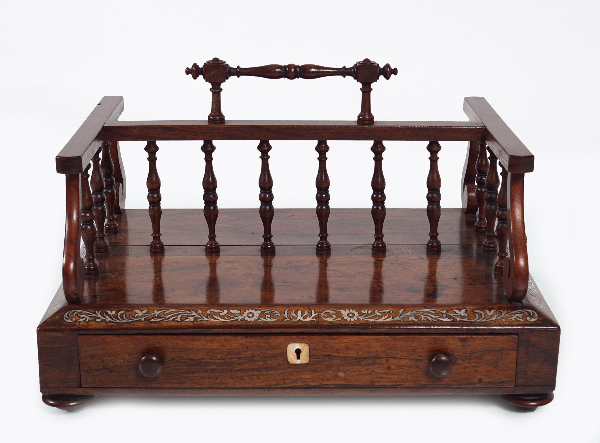 REGENCY ROSEWOOD AND MOTHER O'PEARL BOOK STAND - Image 2 of 3