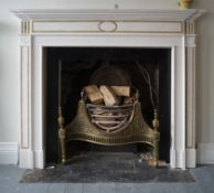 NEO-CLASSICAL SIENNA & WHITE MARBLE CHIMNEY PIECE