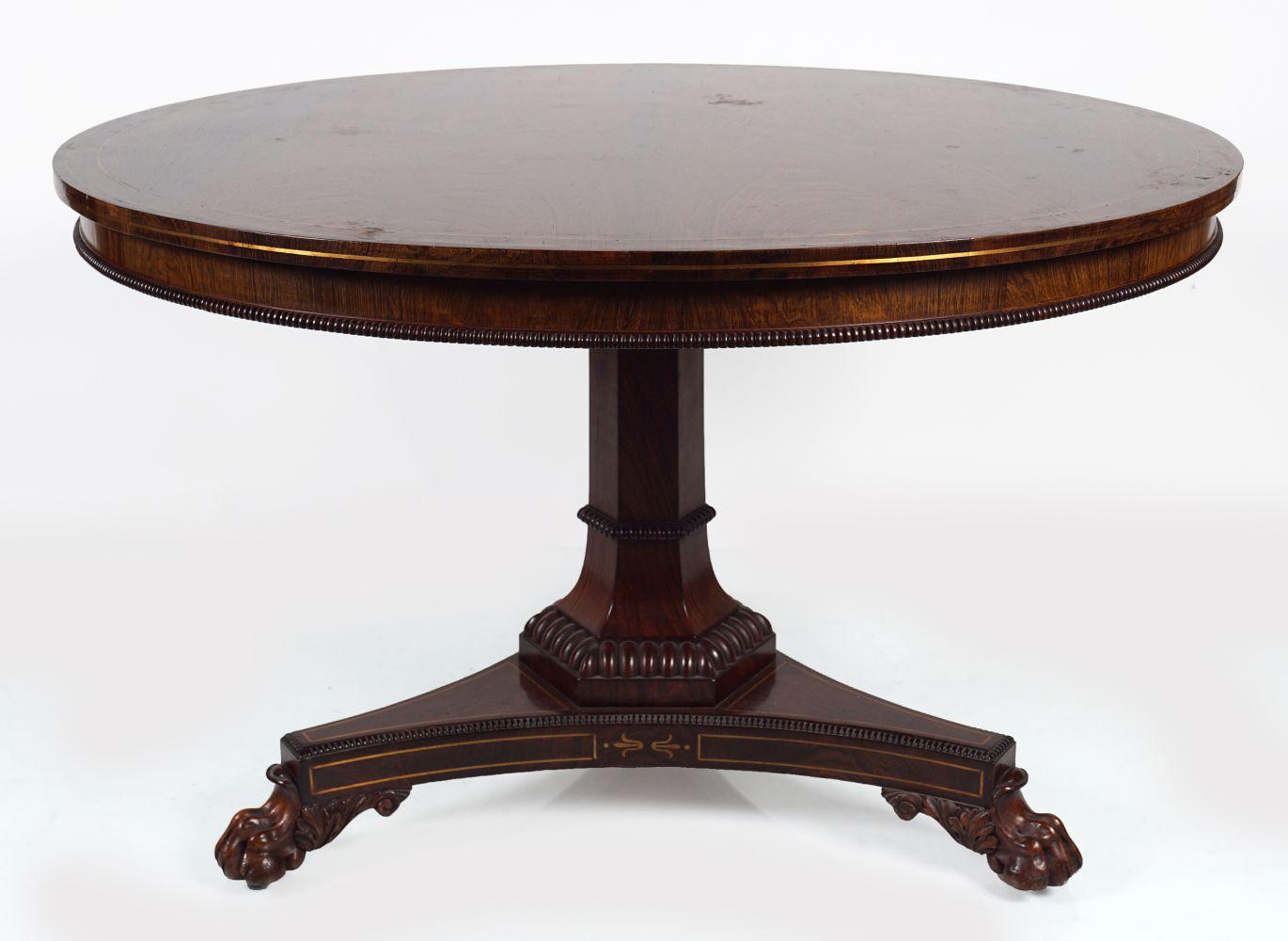 REGENCY ROSEWOOD AND BRASS INLAID CENTRE TABLE
