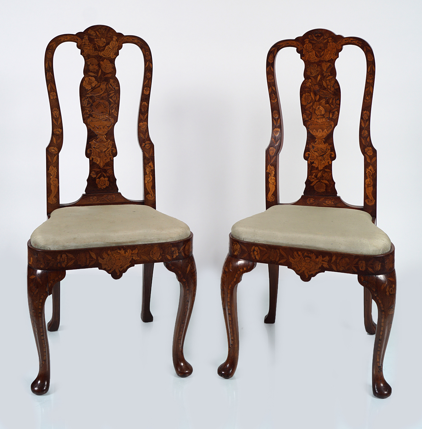 PAIR OF 19TH-CENTURY DUTCH MARQUETRY CHAIRS