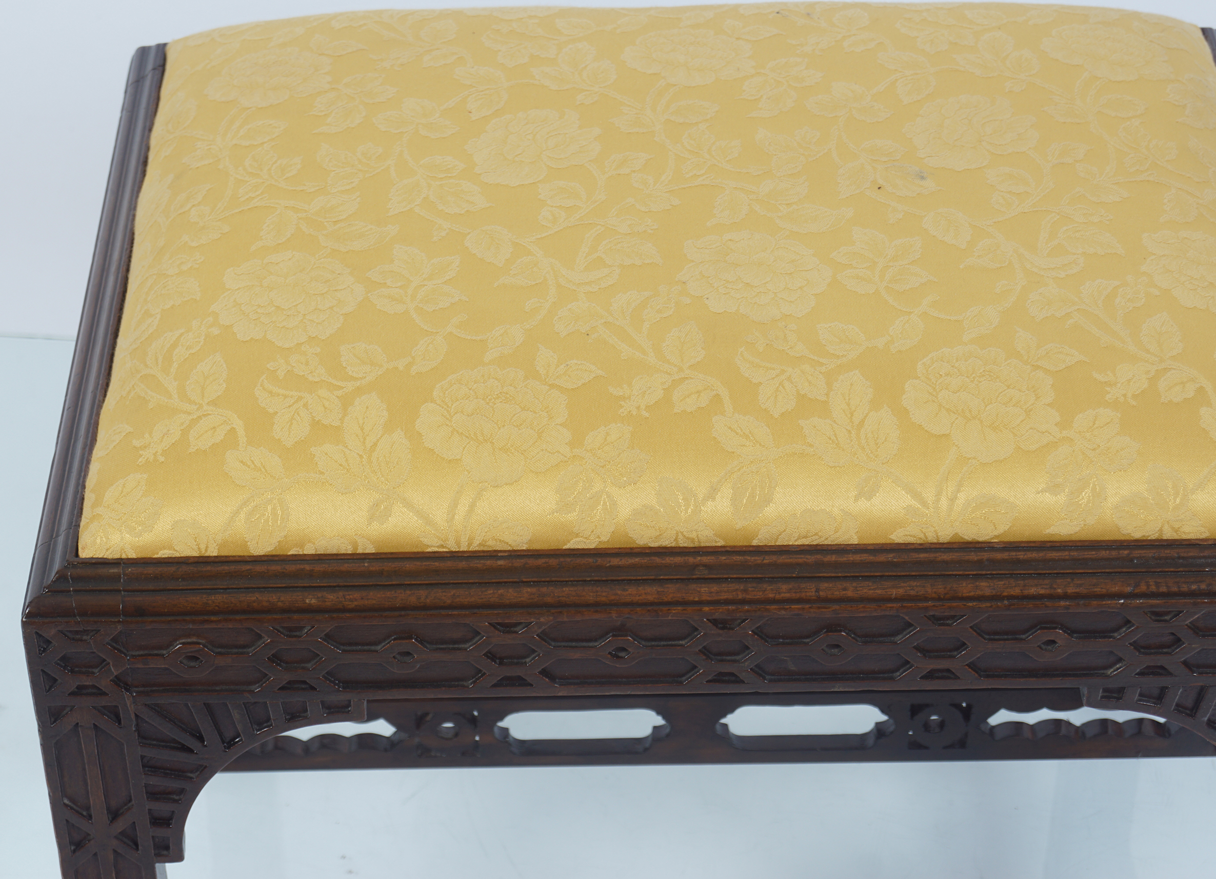 GEORGE III PERIOD MAHOGANY CHIPPENDALE STOOL - Image 3 of 3