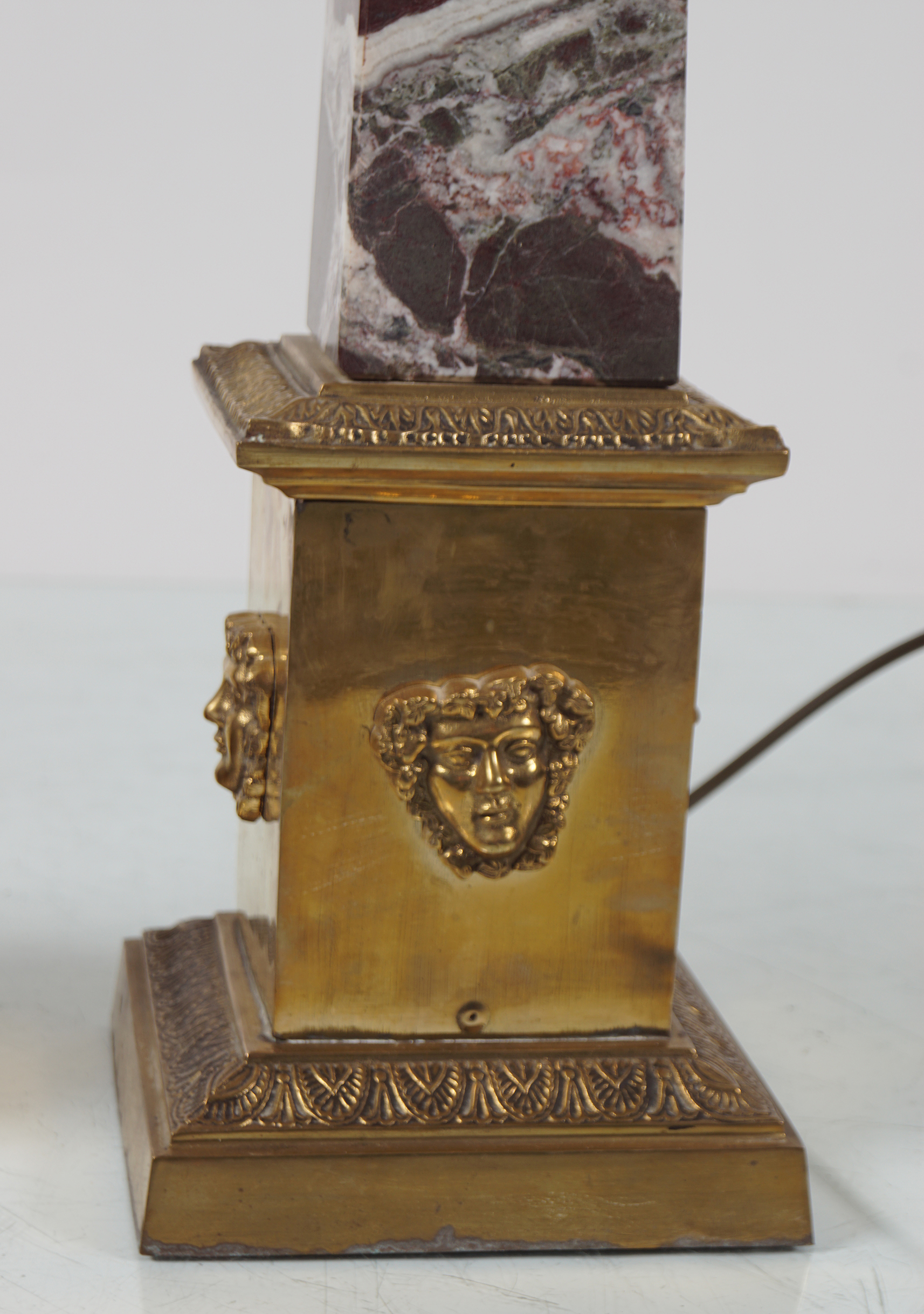 PAIR OF ROUGE ROYAL MARBLE TABLE LAMPS - Image 2 of 3