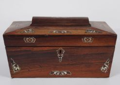 REGENCY ROSEWOOD AND MOTHER O'PEARL TEA CADDY