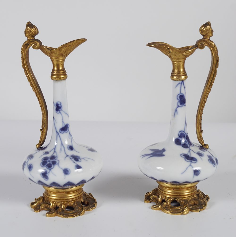 PAIR OF 19TH-CENT BLUE AND WHITE WATER SPRINKLERS