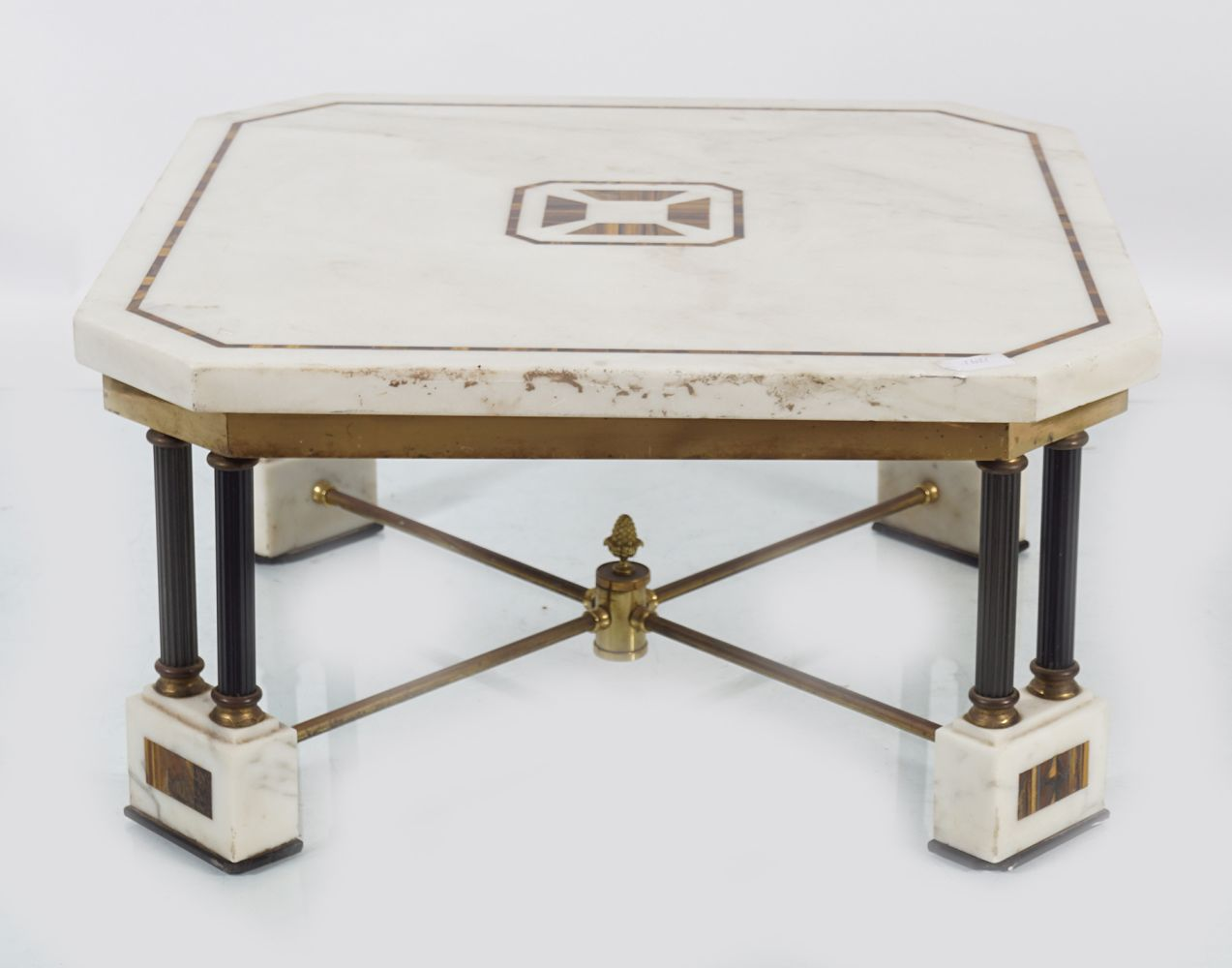 NEO-CLASSICAL STATUARY WHITE MARBLE LOW TABLE