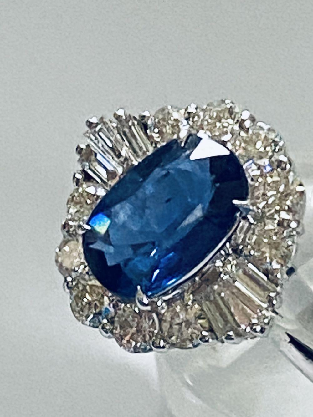 ART DECO DIAMOND AND CEYLON SAPPHIRE CLUSTER RING - Image 3 of 7