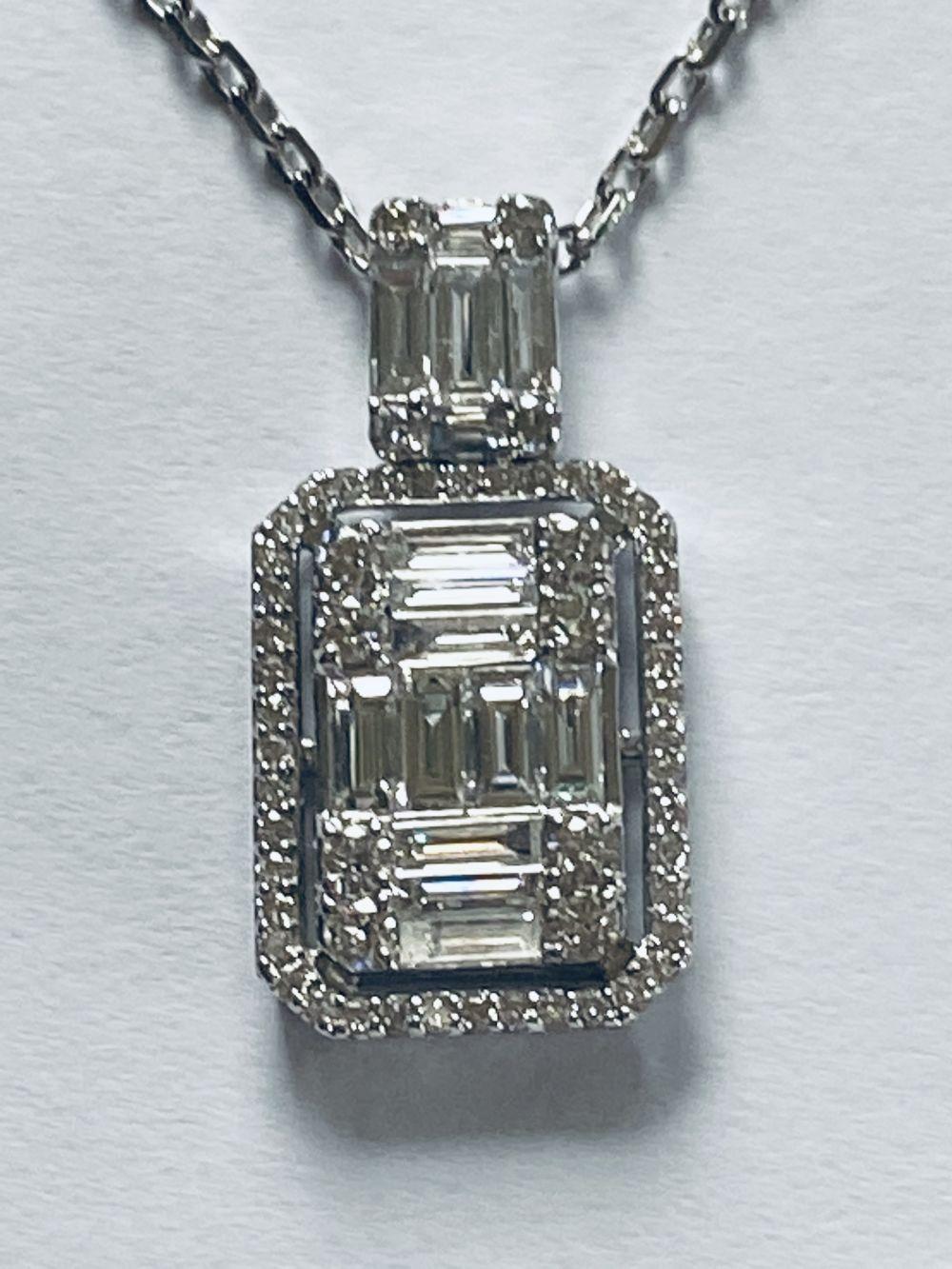18CT WHITE GOLD DIAMOND BAGUETTE PENDANT - Image 2 of 3