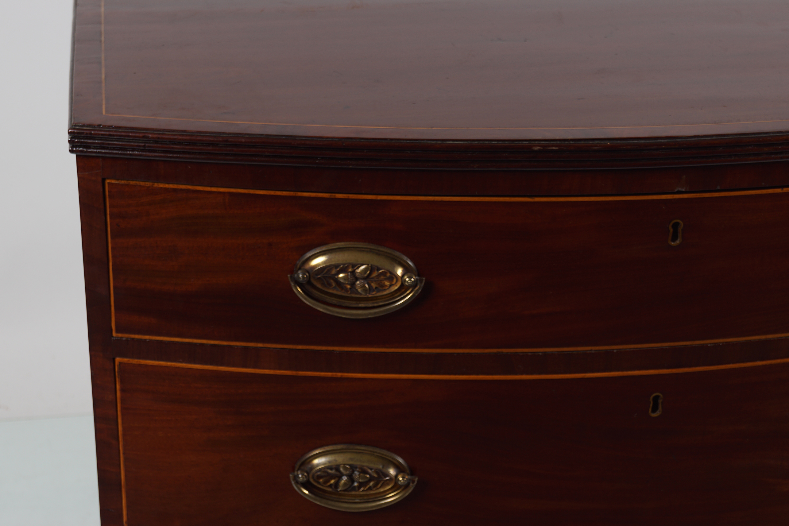 19TH-CENTURY MAHOGANY AND INLAID BOW FRONT CHEST - Image 2 of 3