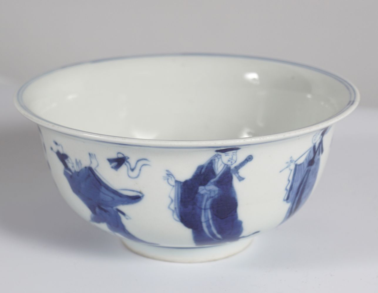 CHINESE BLUE AND WHITE EIGHT IMMORTALS BOWL