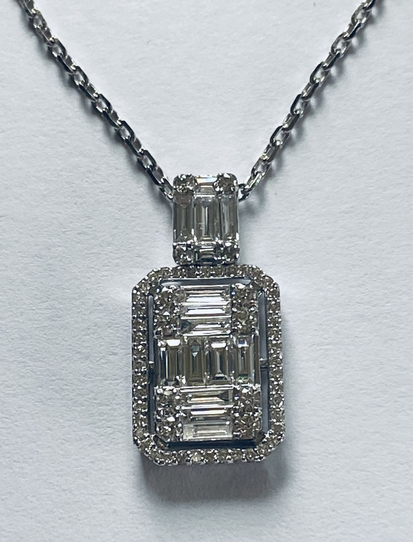 18CT WHITE GOLD DIAMOND BAGUETTE PENDANT