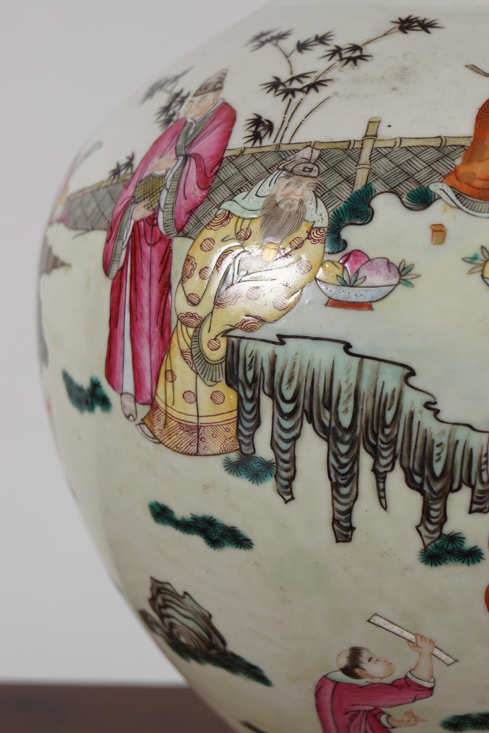 CHINESE QING POLYCHROME VASE - Image 3 of 4