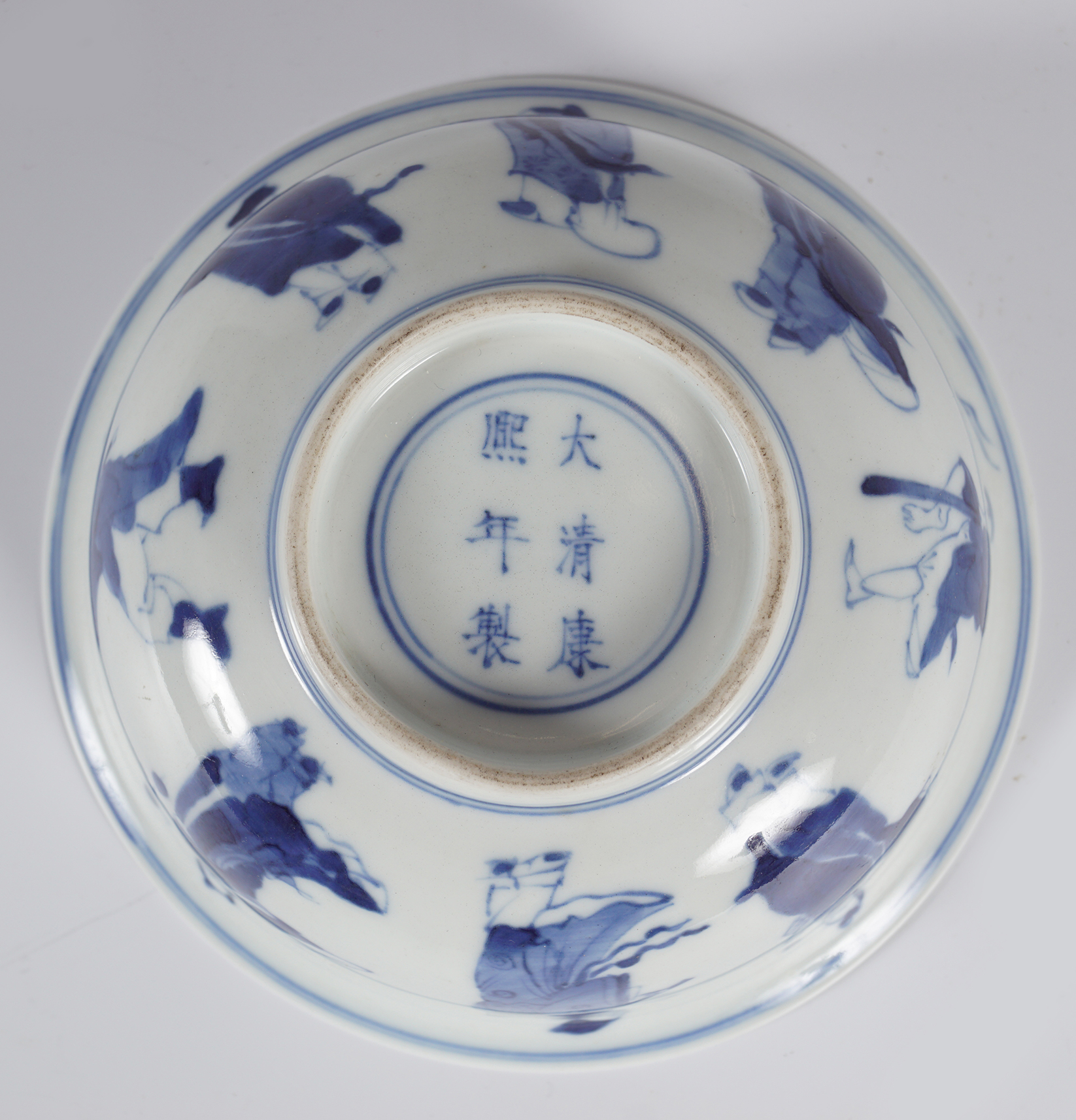 CHINESE BLUE AND WHITE EIGHT IMMORTALS BOWL - Image 3 of 4