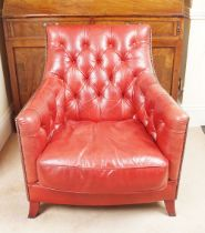 PAIR OF HIDE UPHOLSTERED CLUB CHAIRS