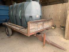 2 wheel trailer c/w Atlas 2500lt diesel tank with 12 volt pump