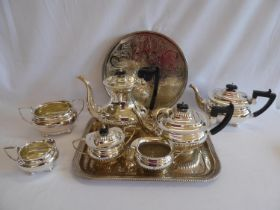 Viners silver plated tea set and another and trays