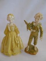 Royal Worcester 'Grandmothers Dress' 3081 and 'Parakeet' 3087 modelled by F.G.