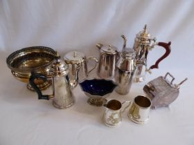 Silver plated coffee set, teapots, cocktail shaker etc.