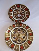 """Royal Crown Derby Imari 1128 plates (2) (8"""" and 10 1/2"""" diameter)"""