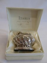 Silver plated Ronson 'Crown' table lighter in box