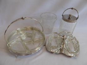 Walker and Hall silver plated glass hors d'ouvres dish, frosted glass ice bucket,
