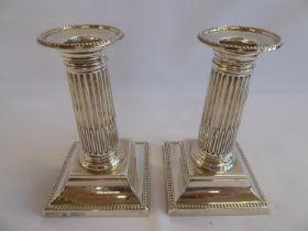 "Pair of silver corinthian candlesticks - London 1898 (5"" tall)"