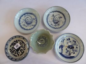 Oriental blue and white dishes (5)