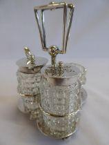 Silver cut glass cruet set - B'ham 1909