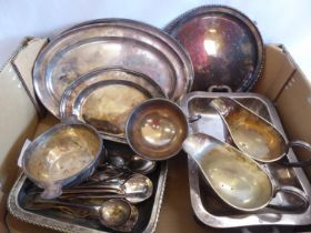 Silver plated trays, tureen, gravy boats, cutlery etc.