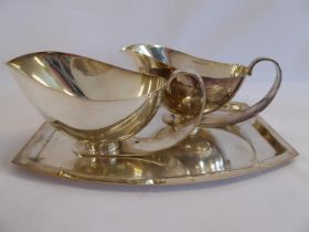 Pair stylish deco style silver plated sauce boats on tray - stamped CWFs EPNS 4506