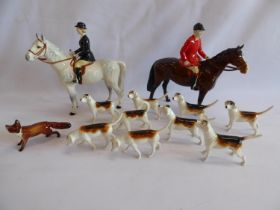 Beswick hunting figures - huntsman, huntswoman,