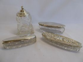 Silver topped cut glass trinket boxes and jam pot (4)