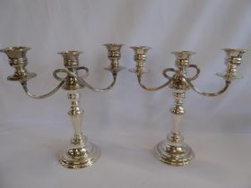 Pair silver plated 3 branch candelabra