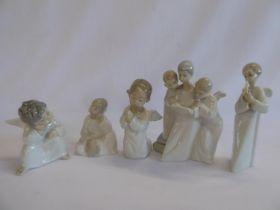 Lladro boy angel figures, Nao angel choir etc.