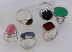 LOT VON 6 SILBERRINGENA LOT OF 6 SILVER RINGS