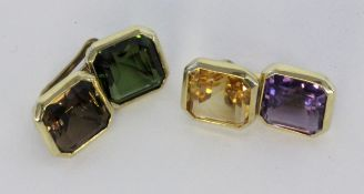 A PAIR OF CUFFLINKS 585/000 yellow gold with different coloured gemstones. Gross weight