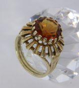 DAMENRING 585/000 Gelbgold mit Madeiracitrin. Ringgr. 56, Brutto ca. 6,2g A LADIES RING 585/000