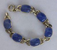 ARMBAND Silber vergoldet mit 6 blauen