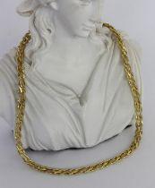 HALSKETTE Silber vergoldet. L.42cm.