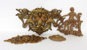 LOT VON 4 WANDDEKORATIONEN Bronze,