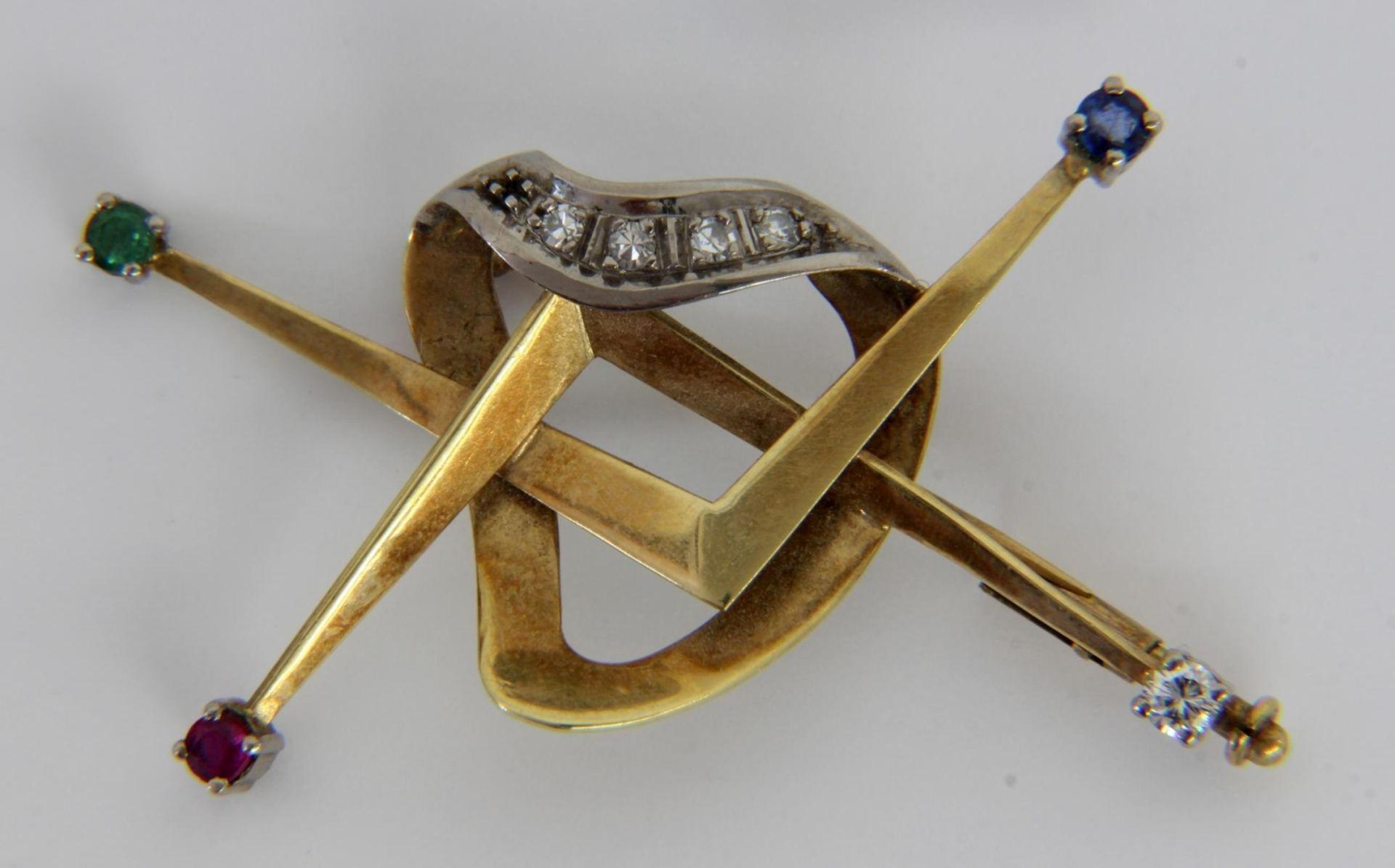 BROSCHE 585/000 Gelbgold mit Diamanten - Bild 2 aus 2