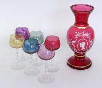SATZ VON 6 LIKÖRKELCHEN Farblose Glas
