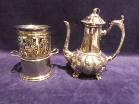 A late 19th century Sheffield silver plated Coffee Pot by Joseph Deakin and Sons, 26cm high and an