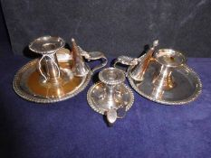 A pair of mid to late 19th century Sheffield plated Chamber Sticks by Matthew Boulton, typical