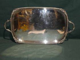 A good quality early 20th century two-handled silver plated Tray, rounded rectangular form with