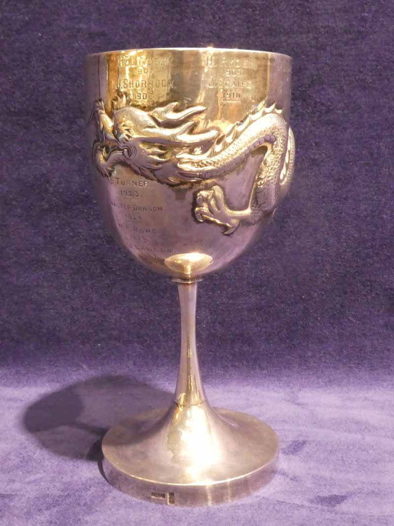 An early 20th century Chinese Silver Goblet by Wang Hing, U shape body embossed with a Dragon, plain