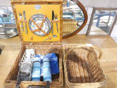 A Brexton Picnic Set for two in cane hamper and a cane shopping basket