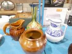Large Hound handle Jug, blue and white Jug, small Crock and Majolica Vase